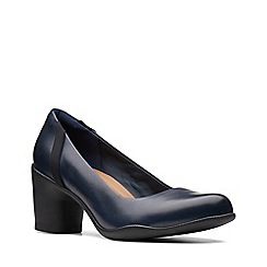 Clarks - Navy blue leather 'Un Rosa Step' mid block heel court shoes