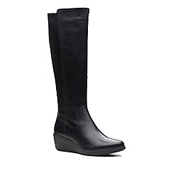 Clarks - Black leather 'Un Tallara Esa' mid wedge heel knee high boots