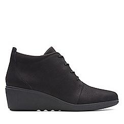 Clarks - Black nubuck 'Un Tallara Eva' mid wedge heel ankle boots