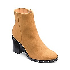 Simply Be - Tan 'Holly' block heel wide fit stud ankle boots