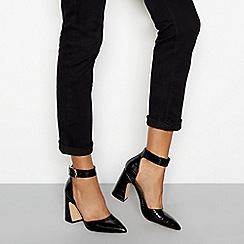 Faith - Black croc-effect block heel two-part sandals