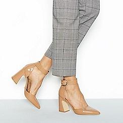 Faith - Natural patent 'Channing' high block heel sandals
