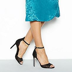 Faith - Black spot mesh 'Lottie' high stiletto heels