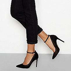 Faith - Black polka dot mesh ankle strap high court shoes