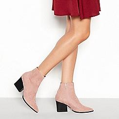 Faith - Pink suedette 'Bestie' block heel ankle boots