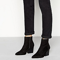 Faith - Black suedette 'Bestie' block heel ankle boots