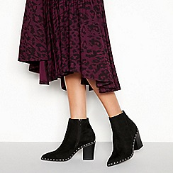 Faith - Black suedette 'Bombshell' block heel ankle boots