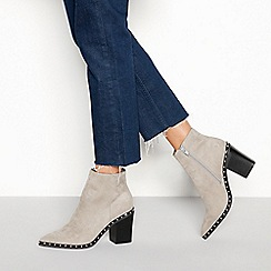 Faith - Grey suedette 'Bombshell' block heel ankle boots