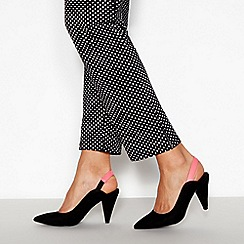 Faith - Black Neon Trim 'Cruella' Slingback Mid Stiletto Heels