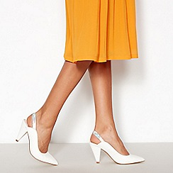 Faith - White Metallic Trim 'Cruella' Slingback Mid Stiletto Heels