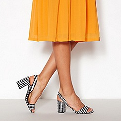 Faith - Black Gingham  Darylle  Block Heel Open Toe Sandals