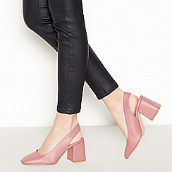 Faith - Pink 'Clock' Mid Block Heel Slingbacks