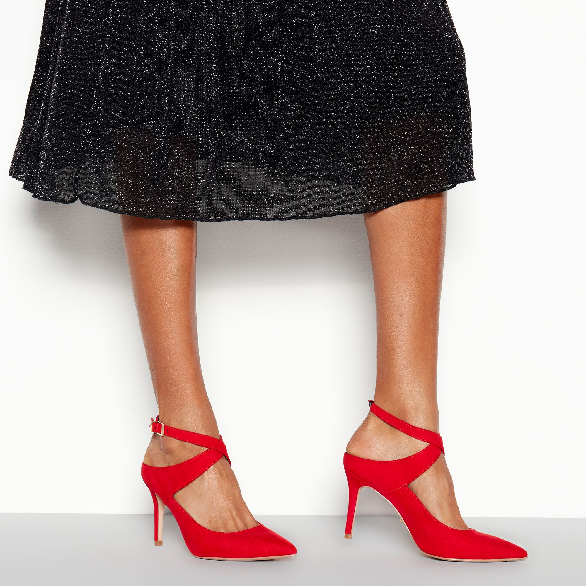 9bc49ab7bba3 Details about Faith Womens Red Suede  Cross  Stiletto Heel Shoes