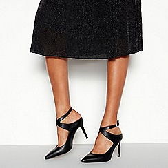 Faith - Black Matte 'Cross' Pointed Toe Stiletto Heel Shoes