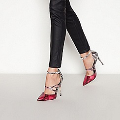 Faith - Pink Snake Effect Strappy 'Cazza' Stiletto Heels