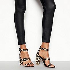 Faith - Multicoloured Leather 'Dellar' Leopard Print Block Heel Sandals