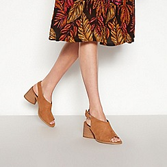Faith - Tan Suedette 'Dani' Block Heel Open Toe Mule