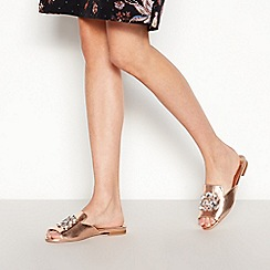 Faith - Rose Gold Embellished 'Jem' Open Toe Mule