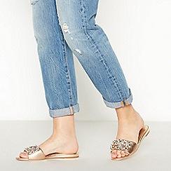 Faith - Rose Gold Metallic Embellished 'Janie' Flat Mule Sandals