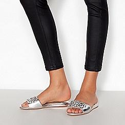 Faith - Silver Metallic Embellished 'Janie' Flat Mule Sandals