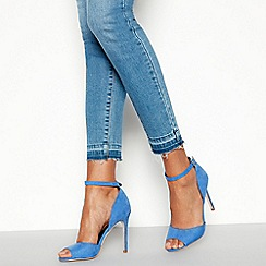 Faith - Blue Suedette 'Classy' Open Toe Stiletto Heel Shoes