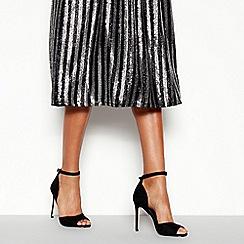 Faith - Black Suedette 'Classy' Open Toe Stiletto Heel Shoes
