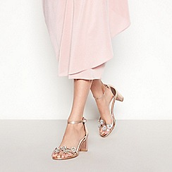 Faith - Rose Floral 'Dommy' Mid Bock Heel Sandals