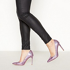 Faith - Purple Crackle Glitter 'Chloe' Stiletto Heel Pointed Toe Court Shoes