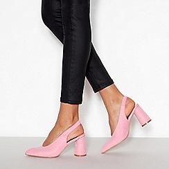 Faith - Pink Suedette 'Craig' Slingback Mid Block Heels
