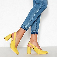 Faith - Yellow Suedette 'Craig' Slingback Mid Block Heels