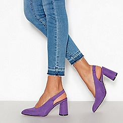 Faith - Purple Suedette 'Craig' Slingback Mid Block Heels