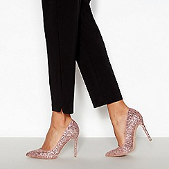 Faith - Pink Glitter 'Chloe' Stiletto Heel Pointed Toe Court Shoes