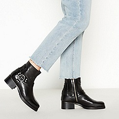 Faith - Black Leather 'Brioche' Mid Block Heel Ankle Boots