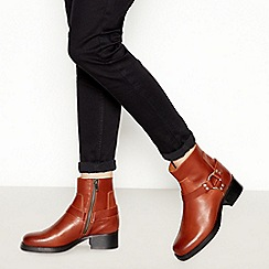 Faith - Tan Leather 'Brioche' Mid Block Heel Ankle Boots