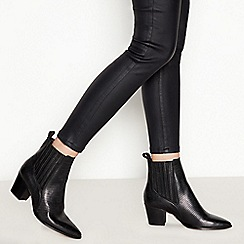 Faith - Black Leather 'Bizard' Block Heel Chelsea Boots