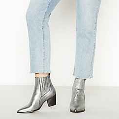 Faith - Silver Leather 'Bizard' Block Heel Chelsea Boots