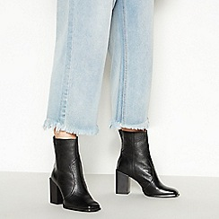 Faith - Black Leather 'Bice' Block Heel Boots