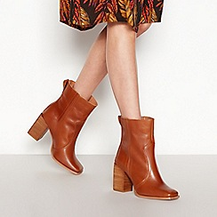 Faith - Tan Leather 'Bice' Block Heel Boots