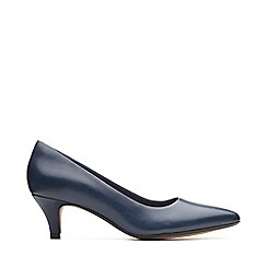 Clarks - Navy Leather 'Linvale Jerica' Kitten Heel Court Shoes