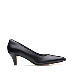 Clarks - Black Leather 'Linvale Jerica' Kitten Heel Court Shoes