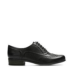 Clarks - Black Leather 'Humble Oak' Block Heel Shoes