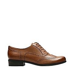 Clarks - Tan Leather 'Hamble' Block Heel Brogues