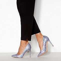 Faith - Blue Stripe 'Chloe Glimmer' High Stiletto Heel Court Shoes