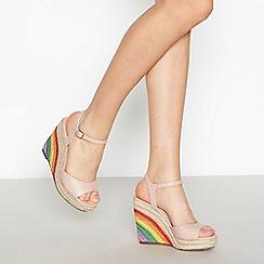 Faith - Nude Peep Toe 'Lester' Rainbow Wedge Heel Sandals