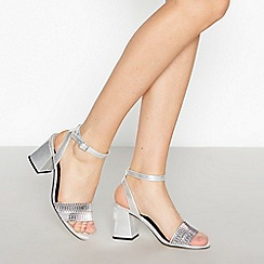 Faith - Silver Diamante 'Dain' High Block Heel Sandals