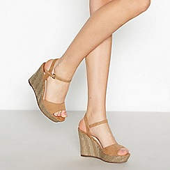 Faith - Gold Suedette 'Larbs' Espadrille Wedge Sandals