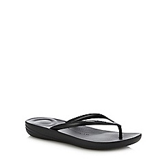 dbbc2d964e2f6 FitFlop - Black  iQushion - Pearlised  Flip Flops