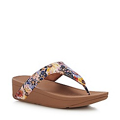 FitFlop - Pink Leather 'Lottie Flowercrush' Wedge Heel Sandals