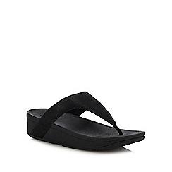 FitFlop - Black 'Lottie Glitzy' Wedge Heel Sandals