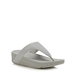 FitFlop - Silver 'Lottie Glitzy' Wedge Heel Sandals